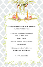 Tropical Pink Roses Blue Trellis Invitations