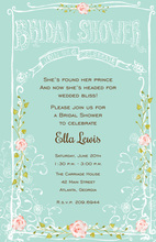 Aqua Banner Pink Rose Invitations
