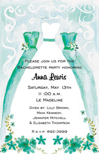 Teal Watercolor Bridesmaids Dresses Invitations