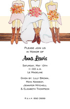 Bridal Cowgirls On Wood Invitations