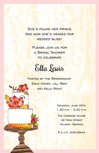Flower Cake Wood Grain Design Invitations