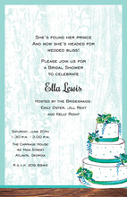 Teal Flower Cake Wood Grain Design Invitations