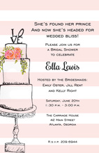 Pink Stripes Love Cake Invitations