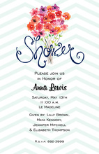 Blue Chevrons Bright Floral Bouquet Invitations