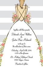 Grey Stripes Bride Back Invitations