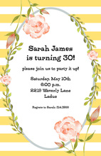 Yellow Stripes Floral Frame Invitations