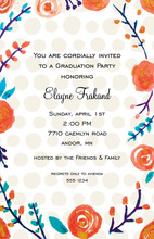 Orange Floral Teal Leaves Invitations