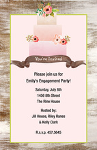 Pink Layer Cake Wood Grain Border Invitations
