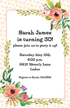 Peach Polka Dot Border Floral Invitations