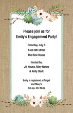 Blue Dhalia Floral Burlap Border Invitations