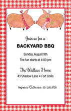 Red Gingham Border Kissing Pigs Invitations