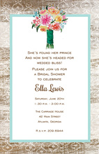 Bouquet Blue Wood Grain Border Invitations