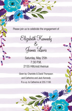 Lavender Stripes Blue Flower Invitations