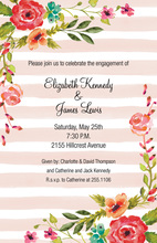 Pink Stripes Floral Corners Invitations