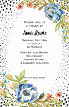 Blue Flowers Black Speckled Invitations