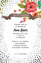 Red Flowers Black Speckled Invitations