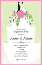Pink Wedding Couple Layered Cake Invitation