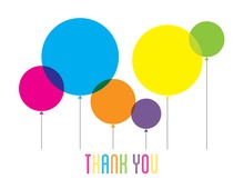 Rainbow Balloons Thank You Note