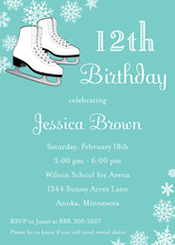 Ice Skates Aqua Snowflakes Birthday Invitations