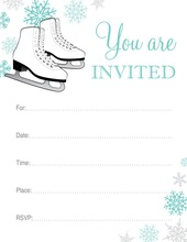 Ice Skates Aqua Snowflakes Fill in Invitations