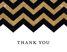 Faux Gold Glitter Chevron Thank You Cards