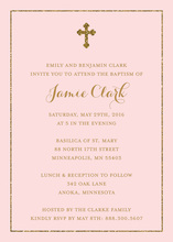 Faux Gold Glitter Border Cross Pink Religious Invitations