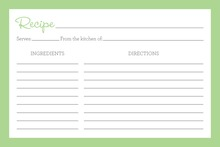 Green Border Recipe Cards