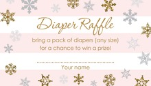 Faux Gold Glitter Snowflakes Raffle Cards
