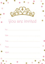 Faux Gold Glitter Tiara Pink Dots Fill-in Invitations