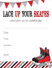 Modern Red Hockey Skates Fill in Invitations