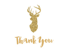 Gold Deer Head Note Cards