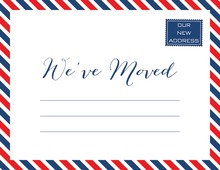 Red White Blue Striped Border Fill-In Moving Announcement