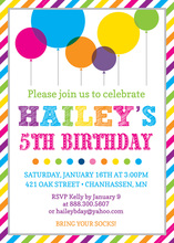Bright Rainbow Balloons Striped Border Invitations