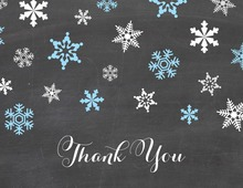 Blue Snowflakes Chalkboard Thank You Cards