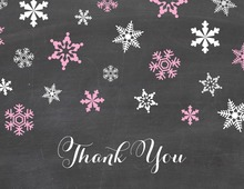 Pink Snowflakes Chalkboard Thank You Cards