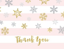 Faux Gold Glitter Snowflakes Pink Stripes Thank You Cards