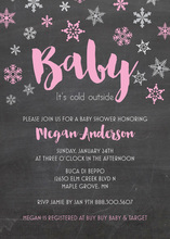 Pink Baby It's Cold Chalkboard Invites