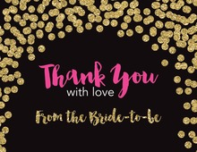 Faux Gold Glitter Dots Thank You Cards