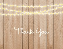 Two-Tone String Lights Vertical Wood Plank Thank You Cards