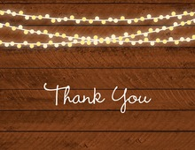 Two-Tone String Lights Horizontal Wood Plank Thank You Cards