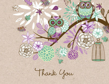 Purple Owls Floral Branch Faux Kraft Thank You Cards