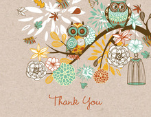 Orange Owls Floral Branch Faux Kraft Thank You Cards