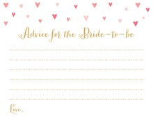 Pink Hearts Bridal Advice Cards