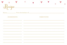 Pink Hearts Recipe Cards