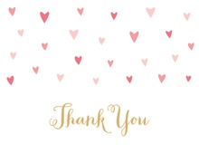 Pink Hearts Thank You Cards