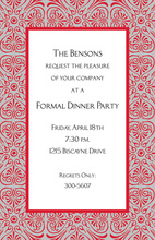 Red Flourish Silver Border Invitation