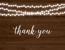 Rustic Wood String Lights Thank You Cards