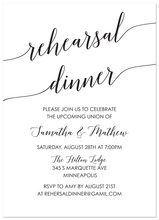Black Script Rehearsal Dinner Invitation