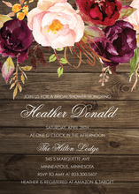 Dark Watercolor Roses Bridal Shower Invitations