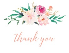 Pink Watercolor Bouquet Thank You Cards